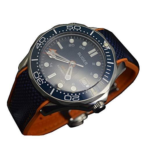 Tickwatch Bliger - Reloj mecánico automático para hombre (41 mm, acero inoxidable), color azul