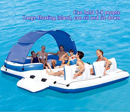 HomeArts Letto Galleggiante Gonfiabile per Adulto con Fila di galleggianti | compresi baldacchino, portabicchieri e Borsa frigo | Salotto per 6 Persone.