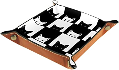 Lagerery Cute Black and White Cat Tray Dice Box Bedside Tray Key Watches and Candy Holder Sundries Entryway Tray