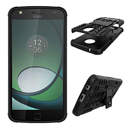 Qiaogle Telefono Case - Shock Proof TPU + PC Hibrida Stents Protettiva Case Cover per Motorola Moto Z Play (5.5 Pollici) - HH13 / Nero