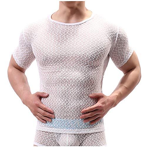 ODRD-Herren Underwear Sexy Men, Herren Sexy Halbdurchlässig Fest Kleidung Gitter Perspektive T-Shirt Unterwäsche, Slips Slip Dessous