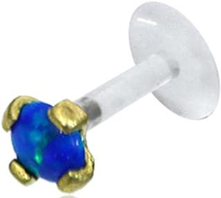 Chic-Net Piercing labret per Labbra, in plastica Biologica, Oro e Ottone, per Trago, Helix, Traslucido, Unisex, per Labbro...