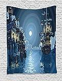 Giow Piraten-Tapisserie, Fantasie-Abenteuer-Insel-Feen-Geheimnis-Schiffe Piraten-Bucht-Bucht wirbelte Mondstrahlen, Wandbehang für Schlafzimmer-Wohnzimmer-Schlafsaal, 60 W x 80 L Zoll,...