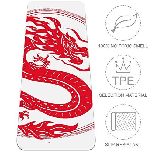 TIKISMILE Traditionele Chinese Draak Extra Grote Yoga Mat Eco Vriendelijke Hoge Dichtheid Anti-Tear 72'' x 24'' Dikte 1/4-Inch Anti-lip Fitness Mat voor Pilates, Meditatie, Vloer & Oefeningen Mat
