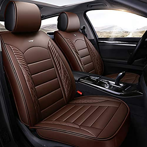Saienno Four Season seat Cover wear-Resistant PU Leather car seat Cushion Cover 5 Seats Full Set of Universal fit. (Brown)