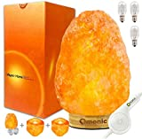 8 lbs Pink White Himalayan Salt Lamp Lights Air Purifier, Table Lamp Bamboo Base Touch Dimmer Switch Control with 1 Salt Night Light, Pack of 2 Salt Candle Holder
