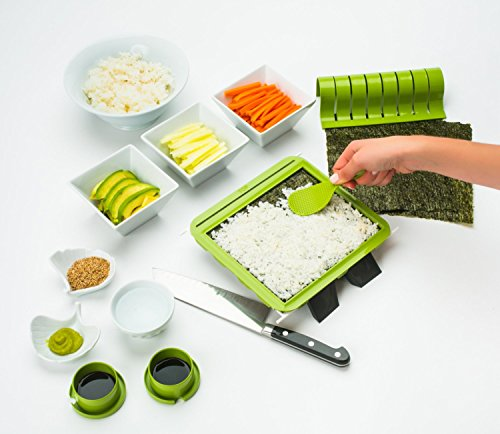 SushiQuik Super Easy Making Kit Complete With Roll Cutter,...
