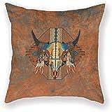 LisaArticles Cushion Cover,New Mexico Style Buffalo Southwestern Bison Poliéster Lino Cuadrado Decorativo Throw Pillow Case Funda De Cojín