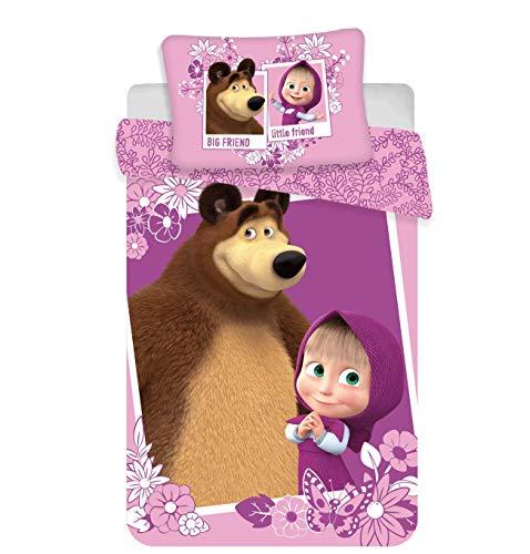 Mascha und der Bär Baby-Bettwäsche-Set 100x135 + 40x60 cm Baumwolle Klein-Kinderbettwäsche Masha