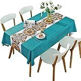 DARUITE PVC Tischdecke Lotuseffekt Wasserabweisend Abwischbare Wachstuch Nähte Boho Stil Druck 137 x 185 cm für Outdoor, Garten, Party
