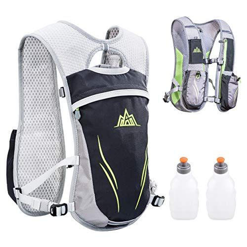 TRIWONDER Outdoors Mochilas Trail Marathoner Running Race Hydration Vest Hydration Pack Backpack Grey  with 2 Water Bottles