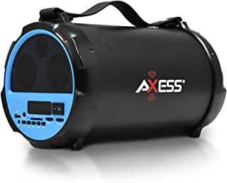"""AXESS SPBT1037 Portable Bluetooth Indoor/Outdoor 2.1 Hi-Fi Cylinder Loud Speaker with Built-In 4"""" Sub + Vibrating Disk and SD Card, USB, AUX Inputs in Blue"""