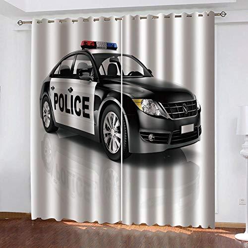 Abeeaceo® Aislamiento De Cortina Opaca 3D Coche Coche De Policía ,100% Poliéster Cortina De Privacidad para Habitación Infantil con Cortinas Aislantes 182 (Ancho) X214 (Alto) Cm -Cortinas Opac