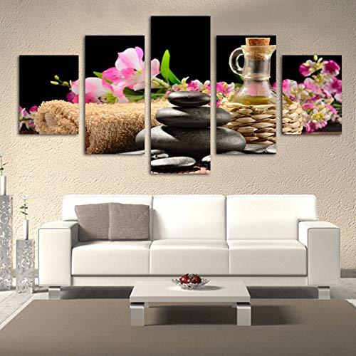 Gbwzz 5 stuks schilderijen op canvas kunstdruk voor de woonkamer Home Decor Artwork 5 panelen bloem en steen muur schilderij Modular Poster Canvas Frame 10x15 10x20 10x25cm