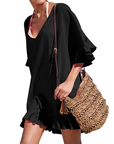 KingsCat Fashion V-Neck Cotton Beach Top/Swimsuit Cover Up, Black