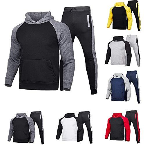 AWDX 2021 - Chándal para hombre, patchwork, ropa deportiva para hombre, tallas grandes, 2 piezas, chándal deportivo, ropa deportiva para hombre, sudadera con capucha y pantalón deportivo 01-gris L