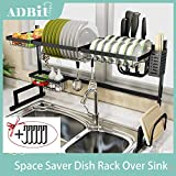"Dish Rack Over Sink(32.5"") Adbiu Dish Drying Rack Kitchen Stainless Steel Over The Sink Shelf Storage Rack (Sink size ≤ 32.5 inch)(Black, 33.5X12.5X20.5inch)"