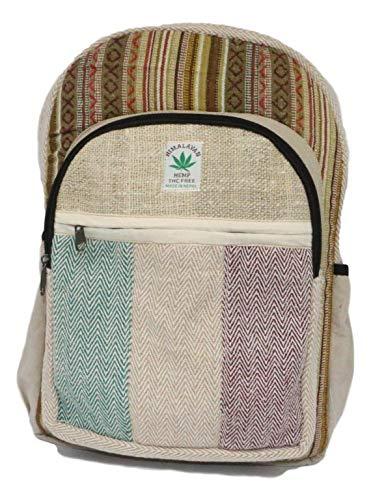 HIMALAYAN Hanf Rucksack, Hanf Tagesrucksack/Daypack für Schule, Reise, Freizeit, Outdoor, Natur – mit Laptopfach, handgemacht in Nepal – model 149.1