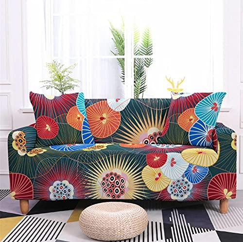 Patrón Circular Colorido Funda de sofá de 3 Plazas Funda Elástica para Sofá Poliéster Suave Sofá Funda sofá Antideslizante Protector Cubierta de Muebles Elástica