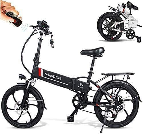 Coolautoparts - Bicicleta eléctrica plegable (20 pulgadas, 350 W, 25 km/h, con batería de litio 48 V, 10,4 Ah, Shimano 7 velocidades, alarma, antirrobo, hombres y mujeres, color negro 1)