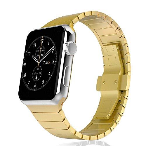 CoverKingz roestvrij stalen armband geschikt voor Apple Watch 42 mm / 44 mm voor Series 5/4/3/2/1 reservearmband roestvrij staal metalen armband, 38mm/40mm Gold