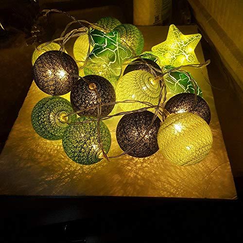 Guirlande Lumineuse,Morbuy Batterie Chaîne de Lumière 6cm Boules Coton LED Cosy Lumière Couleur Décoration Pour La Saint Valentin Noël Fêtes Mariage d'autres Fêtes Ou Occasions Etc (3.3m / 20 Boule lumière, Vert multicolore)