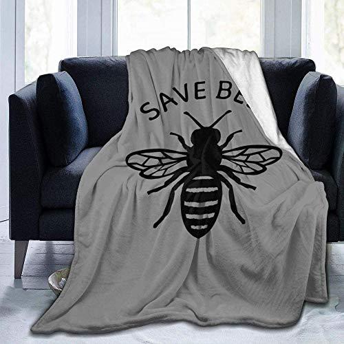ALSHUANG Manta de Lana Save The Bees Manta de vellón súper Suave Grande Manta de Franela acogedora y Ligera 150 * 200cmSábana Colcha Q73
