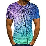 GHRFZC, maglietta a maniche corte, unisex, taglie forti, stampa 3D, per uomo e donna, estiva, con motivo a foglie sfumate, colore viola, 3XL