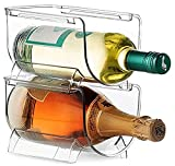 Modular Plastic Free-Standing Water Bottle and Wine Rack Storage Organizer for Kitchen Countertops, Pantry, Refrigerator ,Ideal Storage for Wine, Soda, Pop and Beer - Stackable, 2 Pack - Clear