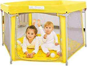 LHR888 Game fence indoor security fence living room outdoor fence toddler bar home bedroom anti-fall bar foldable Color YELLOW Size 131 131 75CM