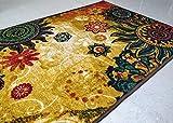 BuyElegant Chakra 1 Alfombra de área Piso Alfombra de poliéster súper Absorbente ecológico látex Antideslizante alfombras dormitorios salón Invernadero casa decoración Juego Mat 150x80 cm