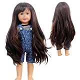 Doll Wigs for 18 inch Dolls Purple Long Curl Wave Wig Wig Girl Gift DIY Hairstyle by Yourself (Brown)