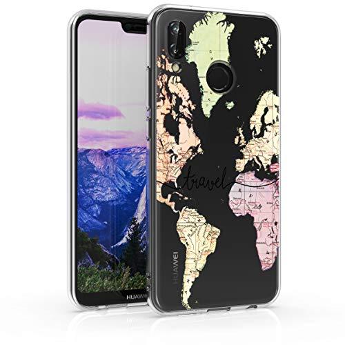 kwmobile Cover Compatibile con Huawei P20 Lite - Custodia in Silicone TPU - Backcover Protettiva Cellulare Mappa del Mondo Nero/Multicolore/Trasparente