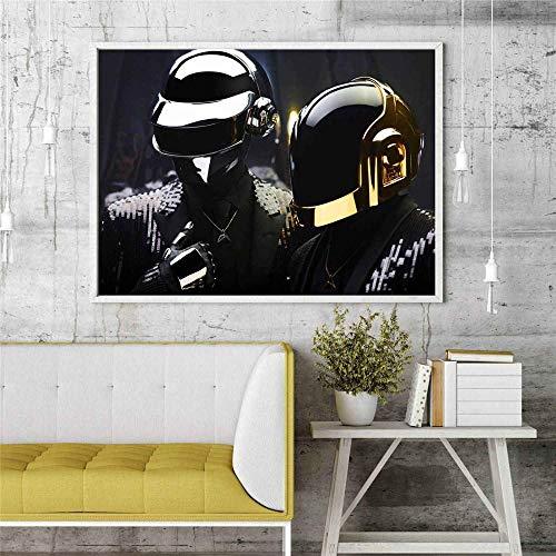 cgsmvp Daft Punk Maske Popmusik Sänger Poster Wandmalerei Wohnzimmer Abstrakte Leinwand Kunst Bilder für Wohnkultur / 50x70cm-Kein Rahmen