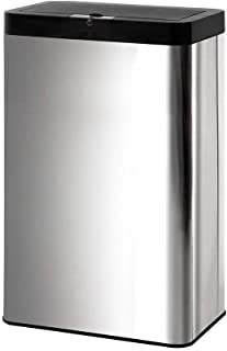 60L Motion Sensor Rubbish Bin   Touchless Automatic Stainless Steel Trash Can   Silver