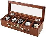 MU Caja de reloj de madera Cajas de joyería Mujer Hombre Regalo Viaje Escritorio Retro Flip Glass Sunroof Caja de almacenamiento,color nogal