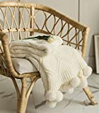 MIDO HOUSE Chenille Pom Pom Throw - Soft & Cozy Knitted Blanket Handmade Throw with Tassels for Couch, Bed, Sofa, Chair