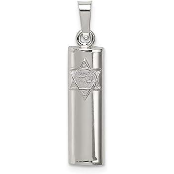 Sterling Silver Jewelry Pendants /& Charms Solid 7 mm 30 mm Mezuzah Star Ten Commandments Pendant