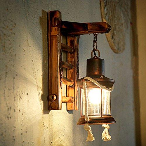 MDERTY LED Lámpara de pared retro vintage Buhardilla salón de té de bambú de pasillo Interior para sala de estar Pasillo Dormitorio Baño Corredor Escaleras Iluminación de pared