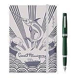 Kit de escritura bolígrafo + cuaderno Montegrappa Armonía Estilográfica, British Racing Green, punta media + cuaderno con goma
