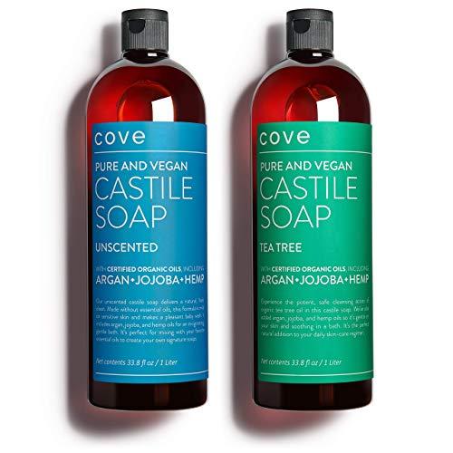 Cove Castile Soap Unscented & Tea Tree - 2x 1 Liter / 33.8 oz Bundle -...