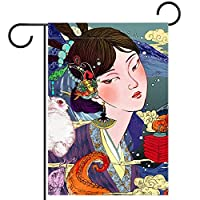 ガーデンヤードフラッグ両面 /28x40in/ ポリエステルウェルカムハウス旗バナー,古代の衣装とウサギの女の子