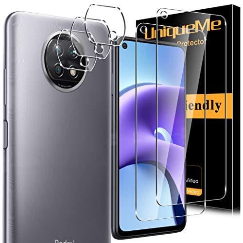 [5 Pack]UnqiueMe 2 pack Schutzfolie Kompatibel mit Xiaomi Redmi Note 9t & 3 pack Panzerglas Kamera Schutz,[Maximale Reichweite] [Blasenfrei] Bildschirmschutz HD klar Folie gehärtetes Glas