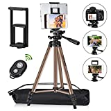 Tripod for iPad iPhone Camera Tablet,50-inch Aluminum Alloy Tripod + Wireless Remote + 2 in 1 Mount Holder for Smartphone (Width 2.2-3.3'),Tablet (Width 4.3-7.3')