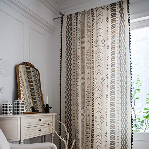 "vctops Bohemian Cotton Linen Curtain Panel with Black Tassels Country Style Geometric Print Room Darkening Rod Pocket Window Curtain One Panel (59""x63"",Geometric)"