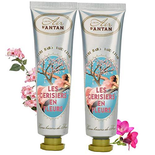 Un Air d'Antan Vintage Kirschblüten Handcremes, angereichert mit Sheabutter und Aloe Vera, exklusiver Freesiaduft, Kirschblüte, 2 x 25 ml, Geburtstagsgeschenkidee