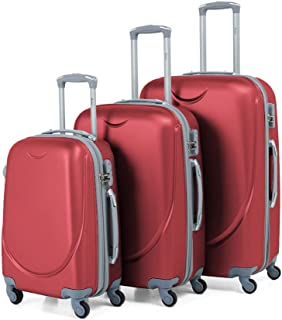 Senator Fashionable Set of 3 Travel Luggage Trolley Bag KH134 (20-24-28, Burgundy)