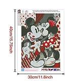 Película de dibujos animados Disney Full Drill Kits de pintura de diamantes 5D Bordado Punto de cruz Beso rojo Mickey y Minnie Mouse 30 * 40 CM