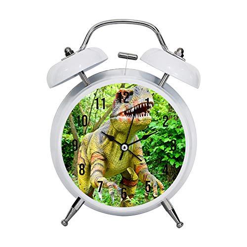 PGTASK Despertador infantil retro con manecillas silenciosas, reloj despertador, luz de mesita de noche, decoración del hogar, estatua de dinosaurio T rex