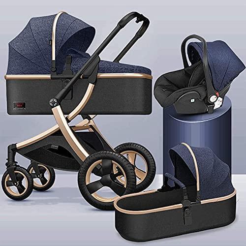 Ankon Cochecito ligero de silla de silla de dos vías, carruaje de bebé compacto con reposabrazos extraíble y cubierta de pie, 3 en 1 cochecito de bebé Resortes de absorción de choques de visión alta c